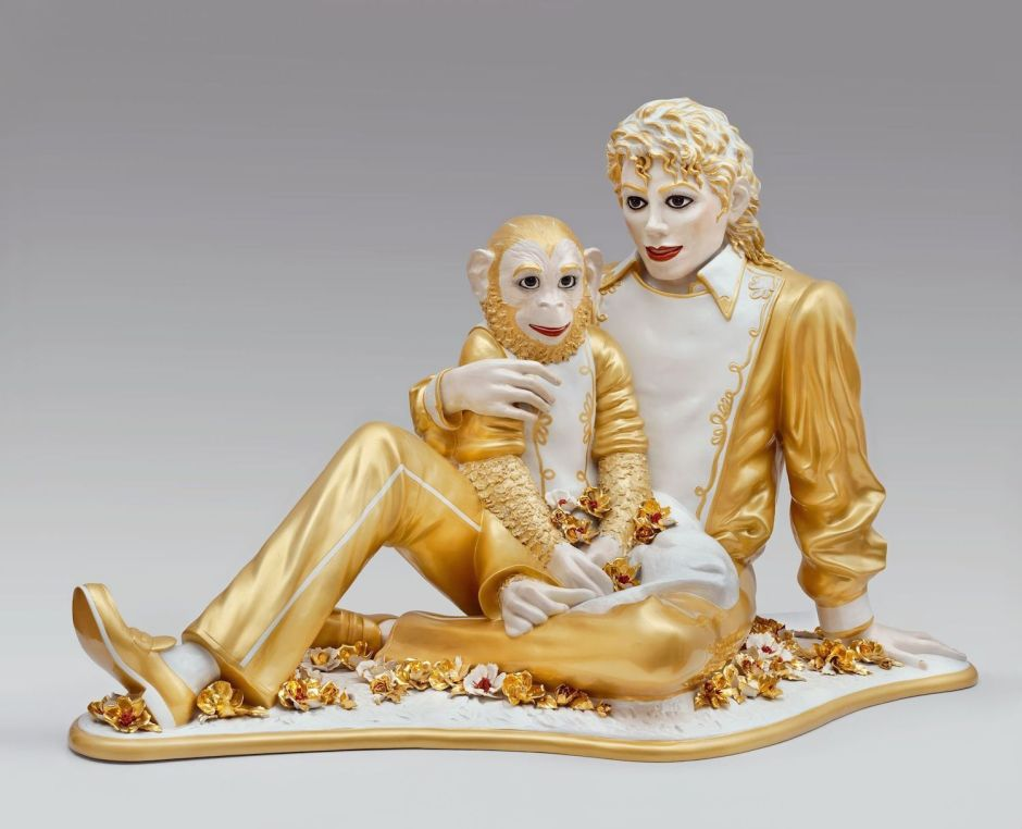 Michael Jackson and Bubbles porcelain 42 x 70 1/2 x 32 1/2 inches 106.7 x 179.1 x 82.6 cm © Jeff Koons