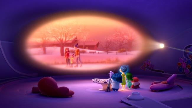Les cinq Emotions devant un des souvenirs de Riley. © The Walt Disney Company France