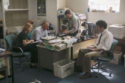 L'équipe de Spotlight menée par Walter Robinson (Michael Keaton) : Sacha Pfeiffer (Rachel McAdams), Michael Rezendes (Mark Ruffalo) et Matt Carroll (Brian d'Arcy James) © Open Road Films