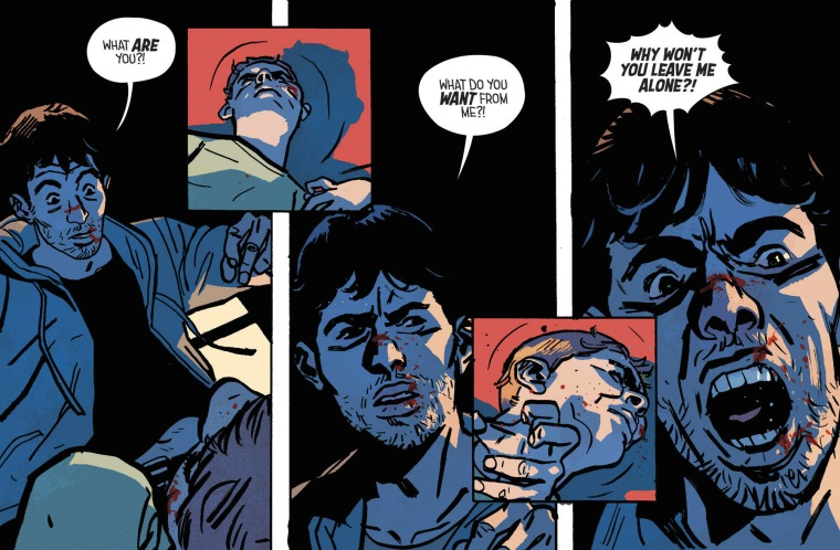 Une planche du comic-book Outcast (Issue 1 : A darkness surrounds him) de Robert Kirkman, également showrunner de la série © Kirkman et Azaceta / Comicvine http://comicvine.gamespot.com/outcast-by-kirkman-azaceta-1-a-darkness-surrounds-/4000-457596/user-reviews/2200-43669/