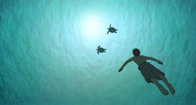 La tortue rouge retrace l'histoire d'un naufragé sur une île déserte tropicale © Studio Ghibli - Wild Bunch - Why Not Productions - Arte France Cinéma - CN4 Productions - Belvision - Nippon Television Network - Dentsu - Hakuhodo DYMP - Walt Disney Japan - Mitsubishi – Toho